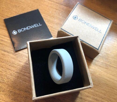 BONDWELL Silicone Wedding Ring for Men: Size:14 Light Grey: