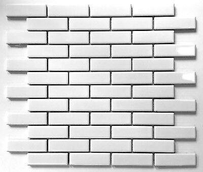 1x3 White Glossy Brick Porcelain Mosaic Tile Wall and Floor Backsplash Kitchen