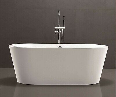 "67"" Freestanding Bathtub White Acrylic Contemporary Oval Soaking Tub"