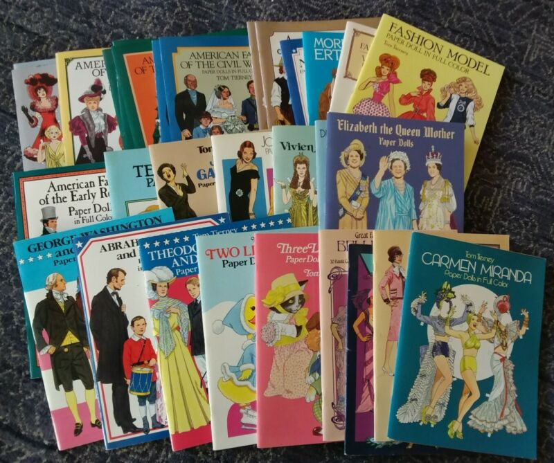 Variety Lot of 30 Paper Dolls Un-Cut Some Water Damage