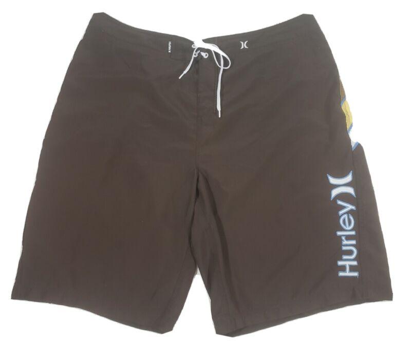 Vintage Hurley Mens Boardshorts Size 40 Brown Yellow Blue  Swim Trunks Beach