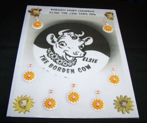 7-BORDEN DAIRY CO-ELSIE THE COW TABS-ON DISPLAY BOARD-MILK-ADVERTISING-VINTAGE