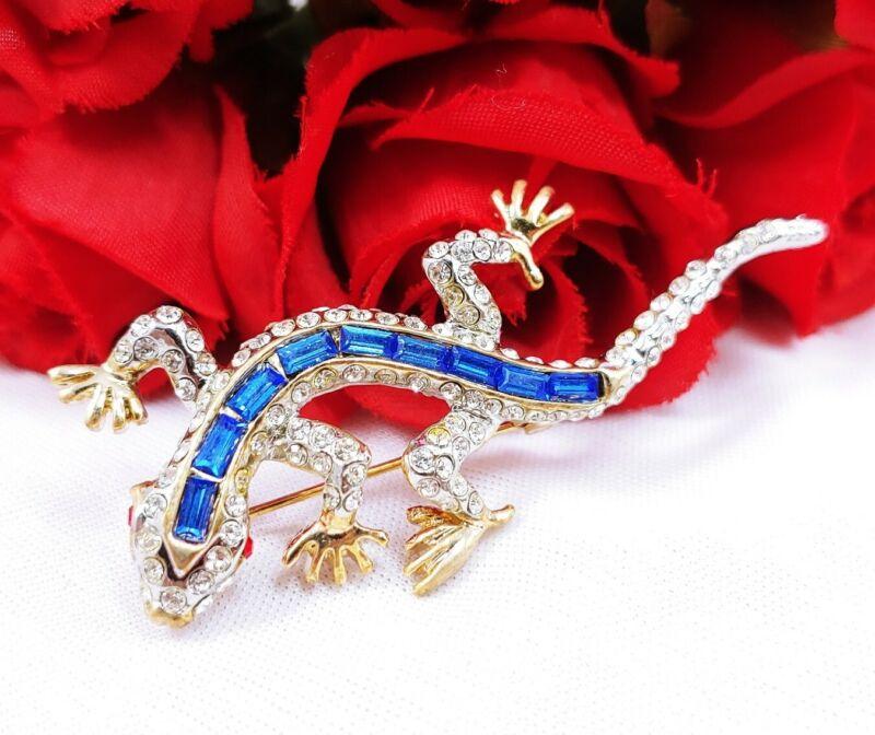 Brooch pin Blue Baguette rhinestones lizard salamander blue gecko red eyes