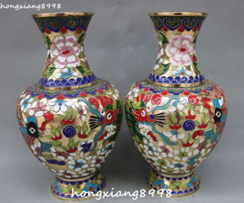 Unique Cloisonne Enamel Dragons Loong Phoenix Phenix Vase Bottle Jar Jug Pair