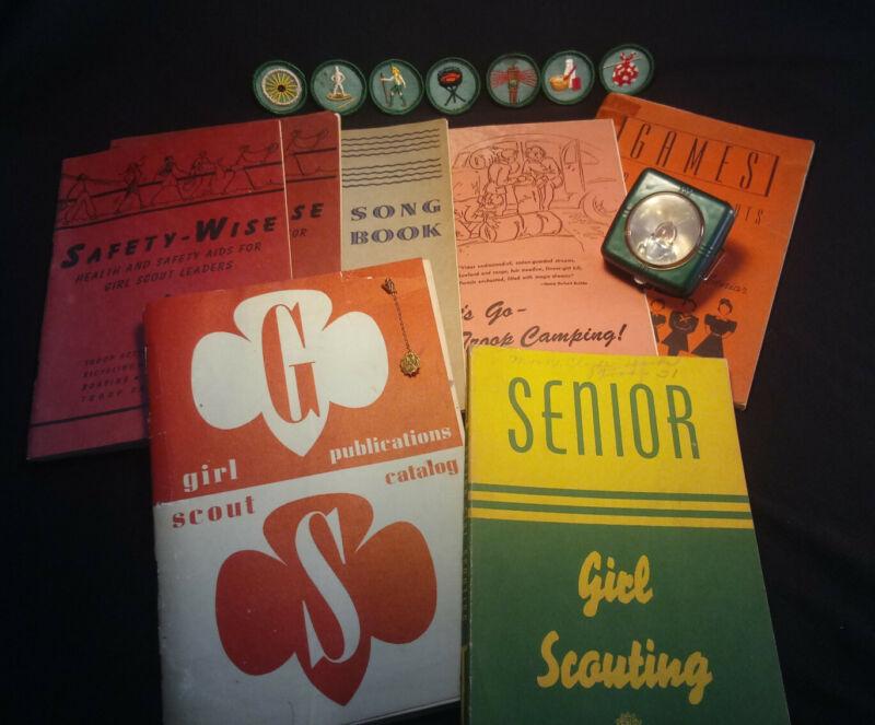 1940s Lot! Vintage Girl Scout Camping/Song Books Merit Badges Pin Pocket Lantern