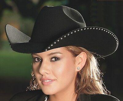 Bullhide Women's Cowboy Cowgirl Black 4X Hat DELTA DAWN Bling Down Under Brim (Cheap Cowgirl Hat)