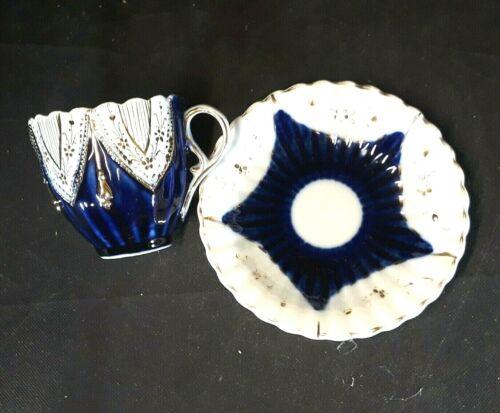 Antique German Cobalt Blue Mustache Shaving Cup and Saucer