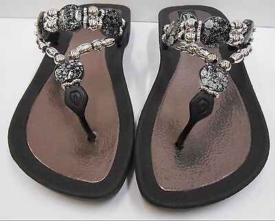 GRANDCO SANDALS Beach Pool THONG BLACK Dressy BLING FROSTED Jeweled Flip Flops