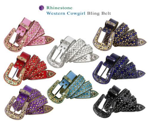 "35116 Rhinestone Belt Western Bling Crystal Studded Leather Belt 1-3/8"" Wide"