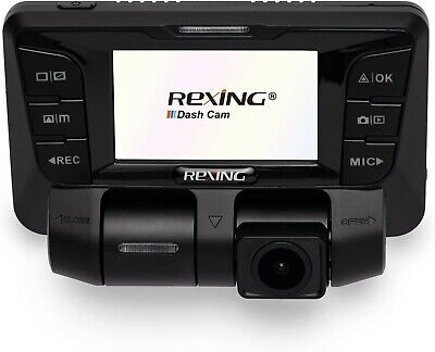 Rexing V2 Front + Back Dual Camera 1080p Full HD Wi-Fi Ultra Wide Angle Dash Cam