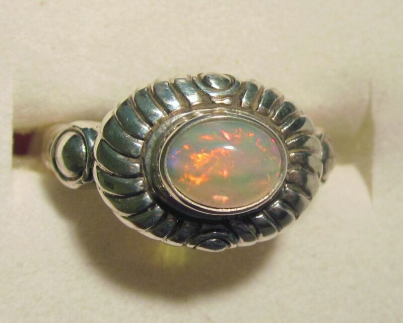 Genuine Ethiopian Opal Ring in Sterling Silver sz 7