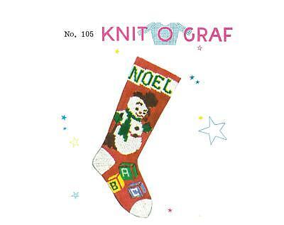 PDF Print at Home!! #105 Knit-O-Graf Snowman Christmas Stocking Pattern! ()