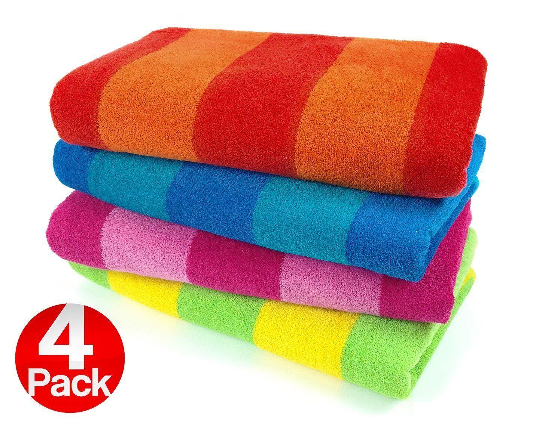 Kaufman Sales 4 Pc Pack Stripe Beach Towel