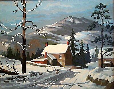 VINTAGE Original PAINT By NUMBER Winter Cottage Landscape Oil on Board FRAMED NR