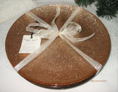 Akcam Gold Glittery Glass Salad Side Plates - Set of 4 - Made In Turkey - New