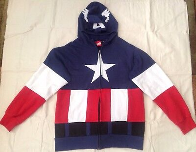Marvel Captain America Sweatshirt Hoodie Zip Up Face Mask Cosplay Small 34/36 ()