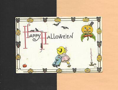 JOL & BLACK CAT BORDER, BATS, Spooky Romantic Vintage Unused HALLOWEEN Postcard