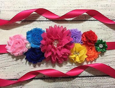 Rainbow Maternity Sash Belt /Sash / Flower Girl Sash, Vintage Belt