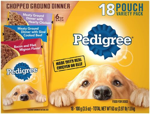 Pedigree Chopped Ground Dinner Adult Wet Dog Food Pouches 3.5 oz.