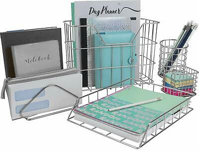Desk Organizer Set 5-piece Desk Accessories Set Silver