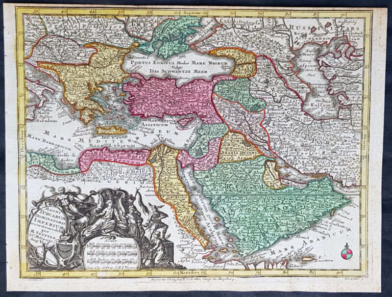 1744 Georg Mattaus Seutter Antique Map of Ottoman Empire Hungary to Saudi Arabia