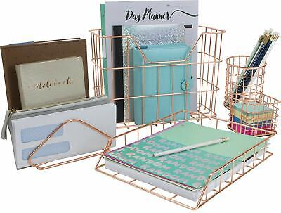 Rose Gold Desk Organizer Set 5-piece Set Aesthetic Office Accessories