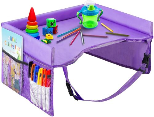 Kids Travel Tray Waterproof Portable Toddler Snack and Play Station with Mesh