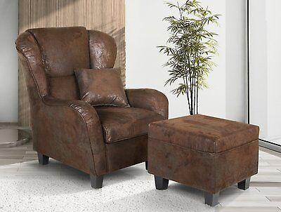 vicco oliver sessel ohrensessel mit hocker antikleder optik 92x90 braun ebay. Black Bedroom Furniture Sets. Home Design Ideas