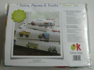 Olive Kids Trains, Planes & Trucks Twin Bedding Sheet Set - 100% Cotton