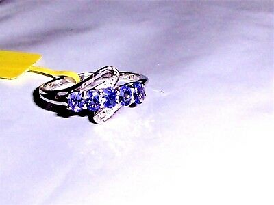 Purple Tanzanite Oval 5-Stone Band Ring, Platinum/ 925, 0.90(TCW) Sizes 6, 8 & (Oval Tanzanite Platinum Ring)