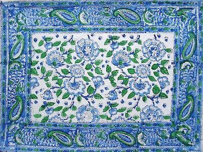 """Primitive Floral Hand Block Printed Cotton Table Placemat 20"""" x 14"""" Blue"""