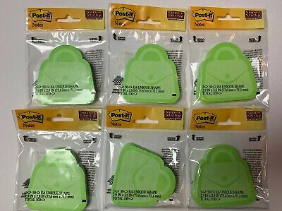 Post-it Unique Shape Green Purses 6 Packs Of 100 - 600 Sheets Total