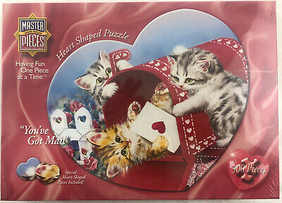 Masterpieces You've Got Mail 500 Pc Heart Shaped Cat Kitten Jigsaw Puzzle Heart Shaped Puzzle