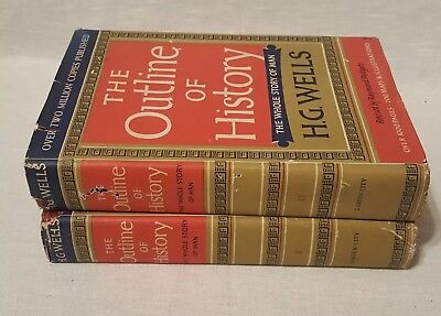 1956 The Outline Of History H G  Wells  Volume I   Ii  Book Club Edition B3