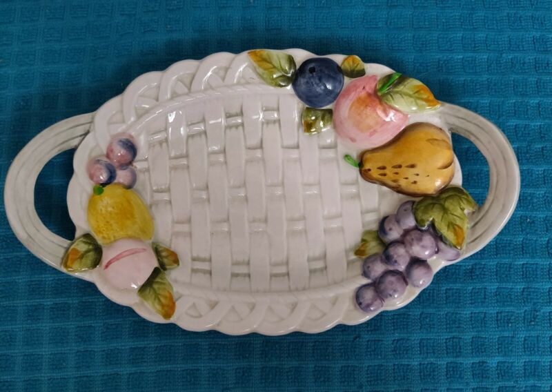Japan Kato Kogei Dual Handled Basket Weave Fruit Dish Hand Painted Approx. 70