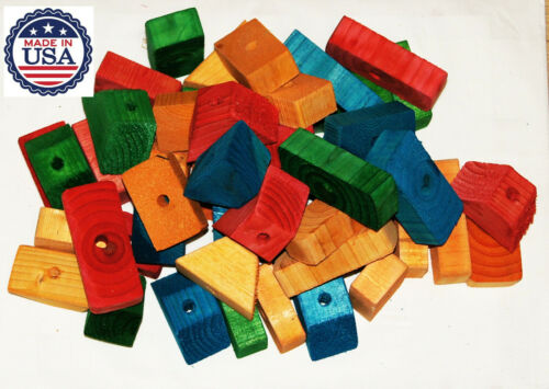 Colored Wooden Wood 50 Large Blocks With Holes Parts For Bird Parrot Toy Macaw