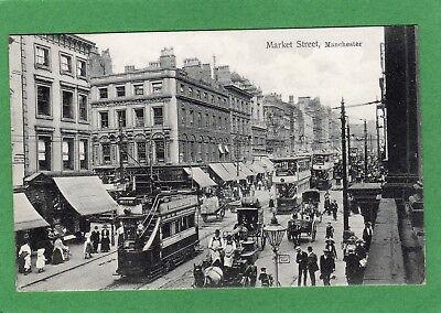 Market Street Manchester Tram pc used 1913  Ref K733