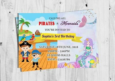 Personalised Mermaid and Pirate Birthday Party Invitations with Envelopes