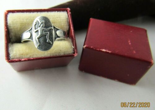 #1 BROWNIE RING 1933 STERLING, RARE Sized, Elf Logo Girl Scouts EUC in BOX