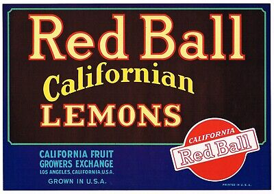 ORIGINAL 1930S LEMON CRATE LABEL RED BALL LOS ANGELES VINTAGE FONT TYPOGRAPHY