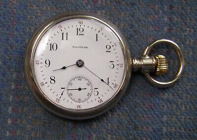 18S Waltham 17J Swing Out Open Face Nickel Case Pocket Watch Serviced!