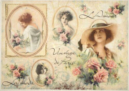 Rice Paper for Decoupage Decopatch Scrapbook Craft Sheet Vintage Paris fashion