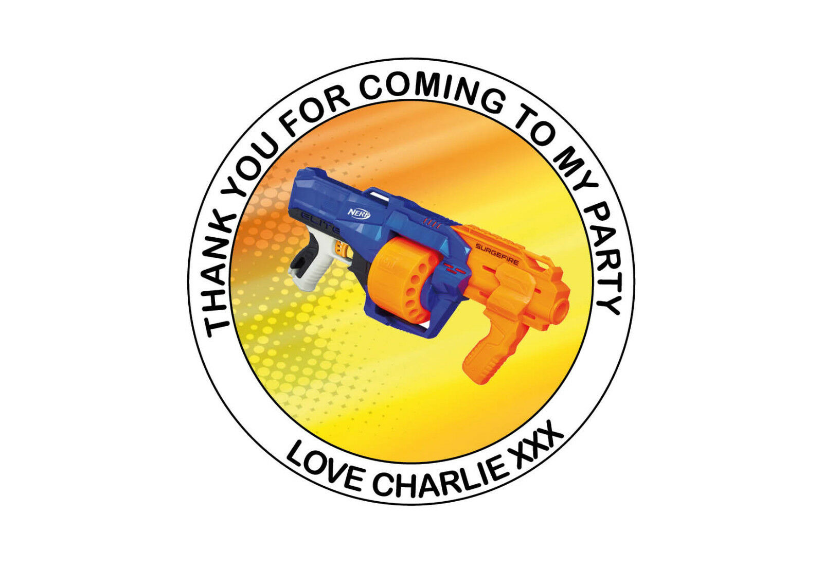 Personalised Nerf Gun Birthday Party bag Thank You 40mm Roun