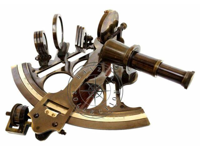 Antique Brass Marine Sextant Nautical Instrument Vintage Ship Desk Astrolabe