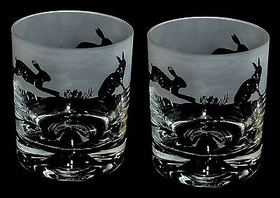 *HARE GIFT* Boxed PAIR WHISKY TUMBLER GLASS with HARE FRIEZE design