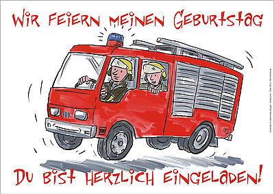 6 Postkarten Feuerwehr Einladungskarten Einladung Geburtstag Kindergeburtstag