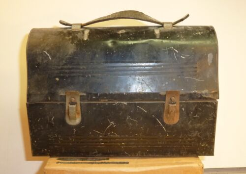 EARLY DOMED LUNCH BOX LEATHER HANDLE + PATENTED AMERICAN THERMOS NORWICH CT