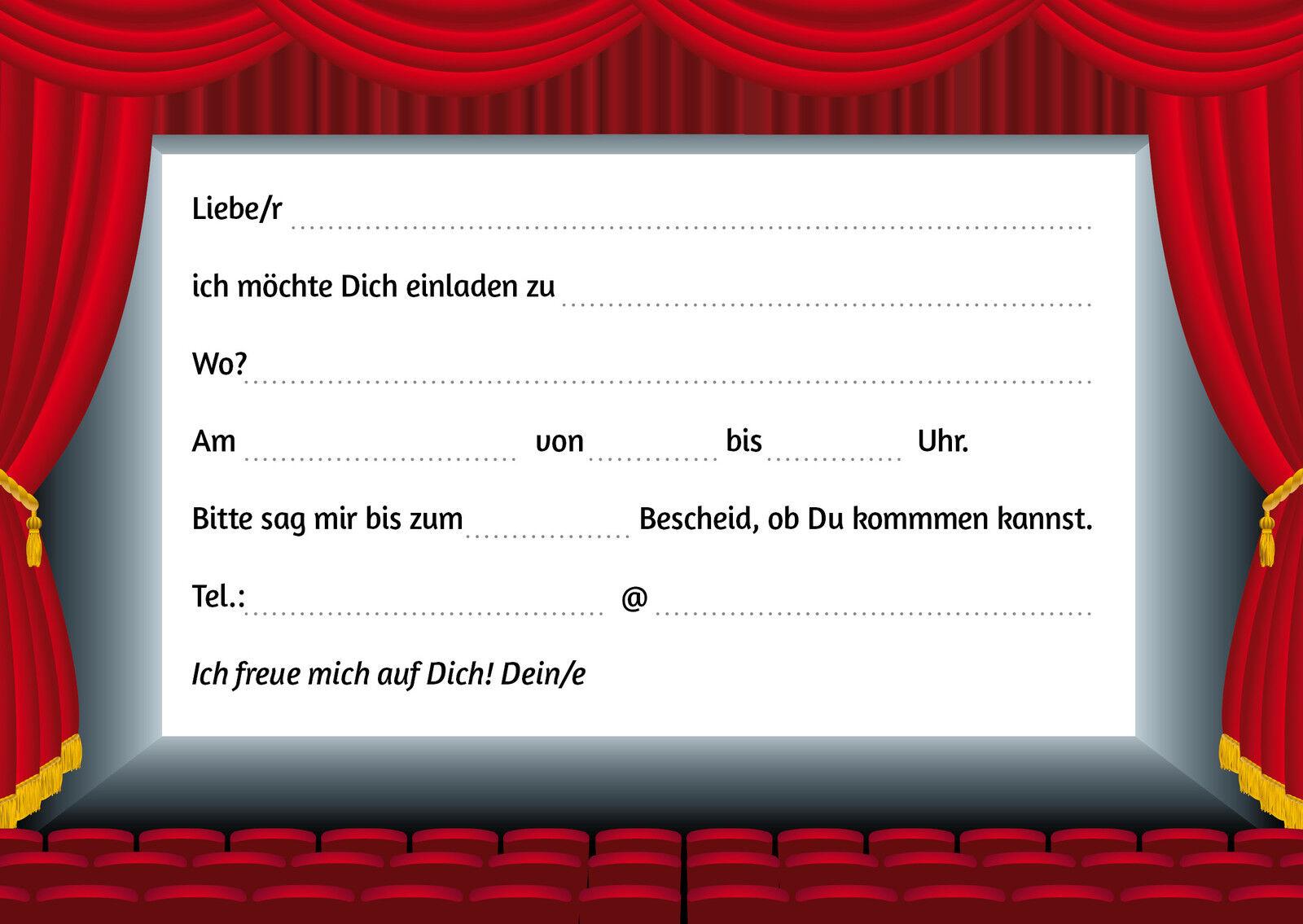"""""""KINO-EINLADUNGEN"""": 6 stilvolle Einladungskarten ins Kino ..."""