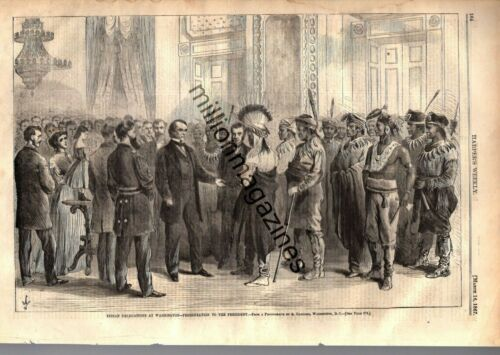 1867 Harpers Weekly March 16  Sioux and Yancton Indians meet President Johnson
