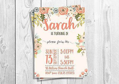 Personalised Floral Birthday Invitations, First Birthday, 18th, Sweet 16, - Personalized Sweet 16 Invitations